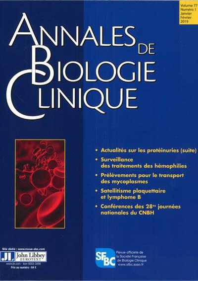 ANNALES DE BIOLOGIE CLINIQUE