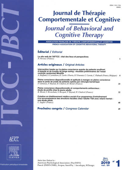 JOURNAL DE THERAPIE COMPORTEMENTALE ET COGNITIVE